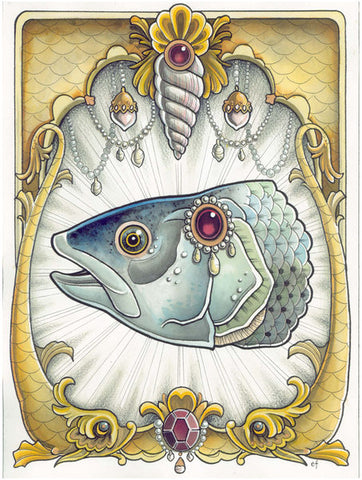 mounted fish head by erica flannes painted decorative frame artwork canvas art giclee print taxidermy  trophy  salmon  wall-decoration  fish-heads