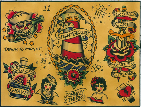 Sailor Jerry poster low brow nautical light house painting traditional tattoo flash designs color artwork artist black wood h