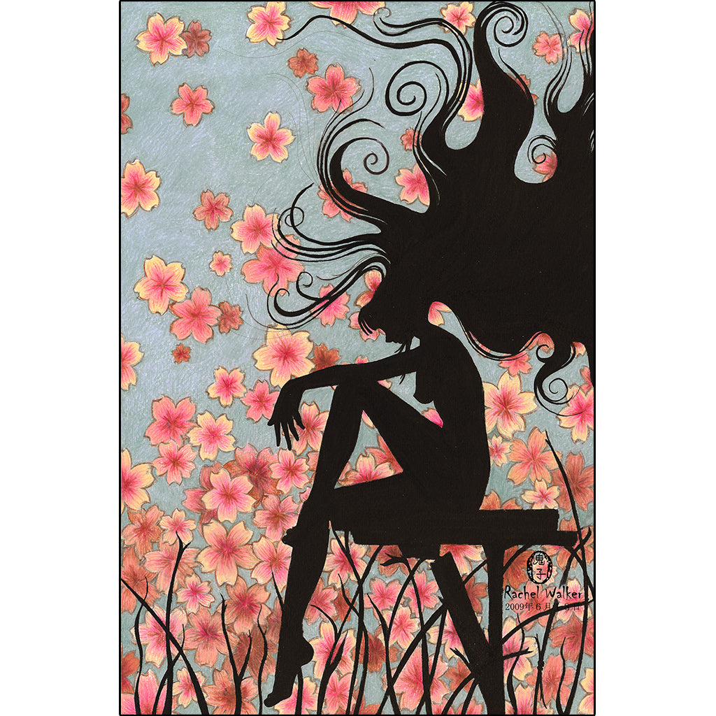 Watching Cherry Blossoms by Rachel Walker Rolled Canvas Art Print