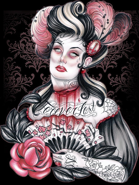 forever lost by hilary jane victorian zombie tattoo canvas giclee art print steampunk goth lady picture horror
