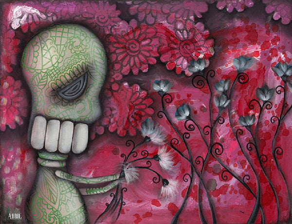 for you by abril andrade sugar skull w flowers day of the dead canvas art print floral  dia-de-los-muertos  alternative artwork painting