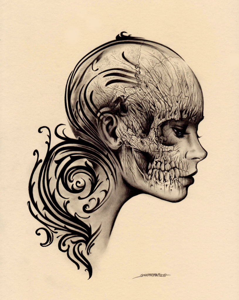 Fragile by Josh Stebbins Anatomy Tattoo Rolled Canvas Art Print