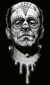 frank de los muertos by shayne day of the dead frankenstein canvas art print monster sugar-skull dia-de-los-muertos day-of-the-dead artwork