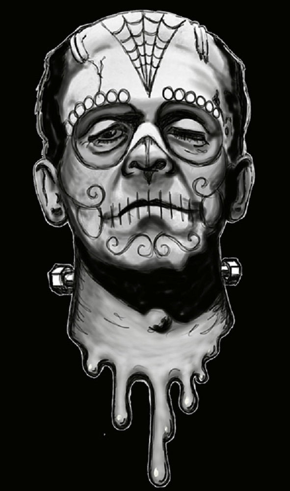Frank De Los Muertos by Shayne of the Dead Rolled Canvas Art Print