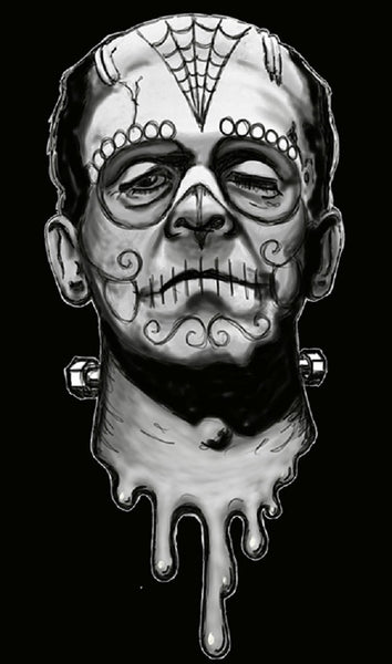 frank de los muertos by shayne of the dead canvas or paper rolled art print monster sugar-skull dia-de-los-muertos day-of-the-dead artwork