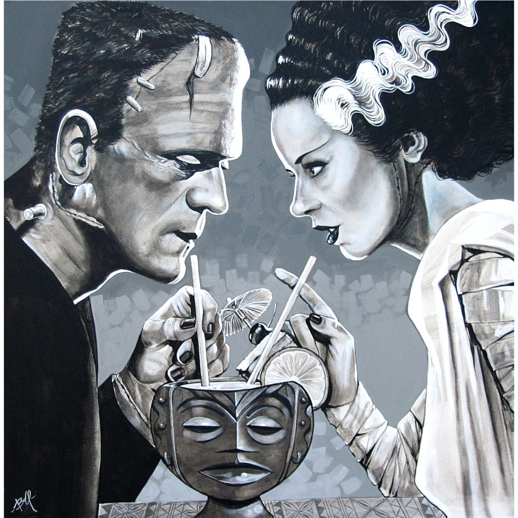 monster tiki bride of frankenstein classic halloween love black white grey romance home bar decor wall house pop modern roman