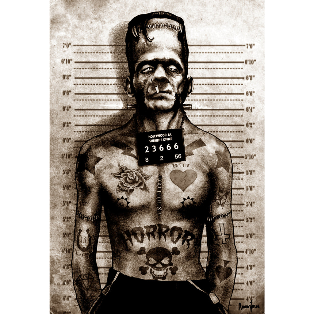 Franky Mugshot by Marcus Jones Tattoo Rolled Canvas Art Print