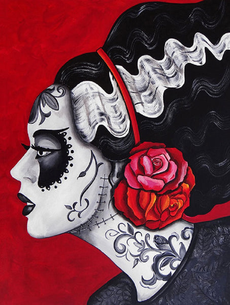 franky's bride by melody smith tattooed death mask frankenstein canvas art print flowers portrait artwork portrait painting