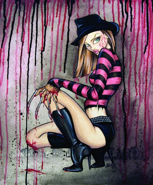 freddie by alayna magnan sexy ink girls krueger nightmare on elmstreet inspired artwork canvas giclee art print artwork tattoo sexy woman painting