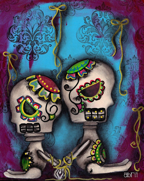 free yourself by abril andrade griffith sugar skulls tattoo canvas art print Day-of-the-Dead  fine-art-print  skeleton  sugar-skulls