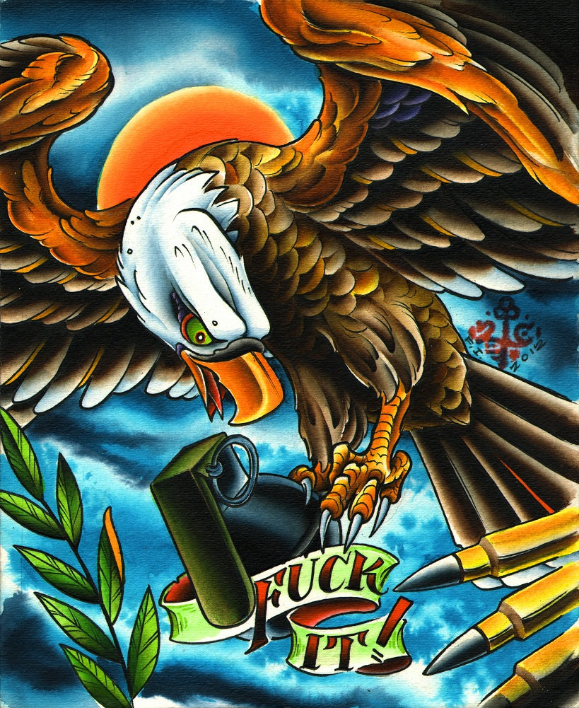 fuck it by 2 cents angry eagle and gun bullets tattoo artwork canvas art print angry-eagle  hawk  gun-bullets  military  alternative-artwork
