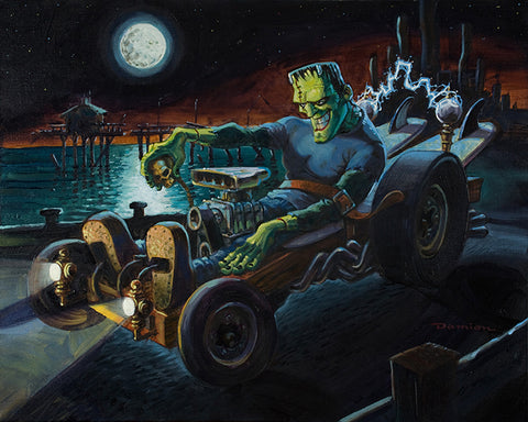 Fully Charged by Damian Fulton Frankenstein Hot Rod Canvas Art Print