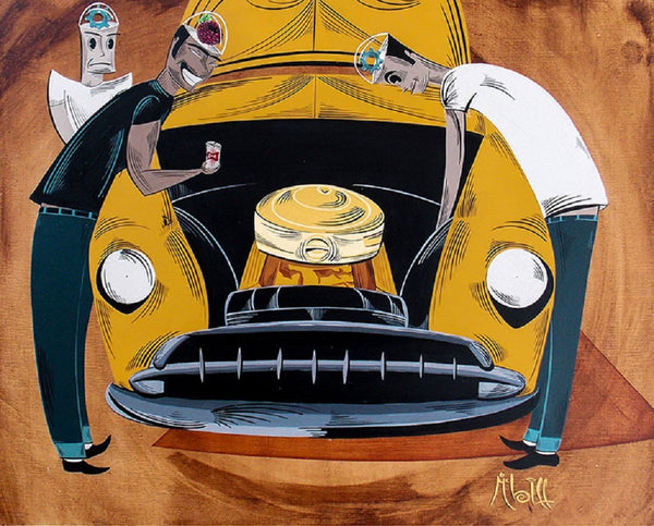 Gearheads by Mcbiff Chevy Mechanics Tattoo Canvas Giclee Art Print