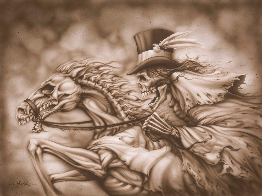 grim reaper horse skeleton sepia tattoo artwork painting traditional tattoo flash designs color artwork artist black wood hom