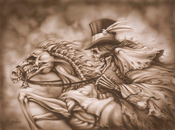 ghost rider by dan scholz phorse rier with top hat tattoo canvas art print grim-reaper horse skeleton sepia tattoo-artwork
