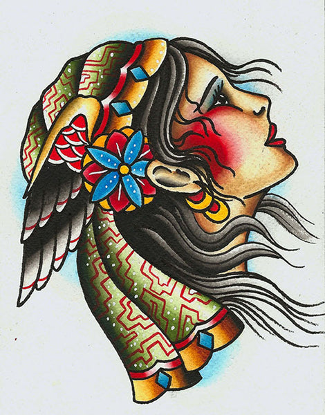 girl with wing by artist mikey sarratt woman traditional tattoo canvas art print native-american portrait indie traditional-tattoo-designs alternative-artwork