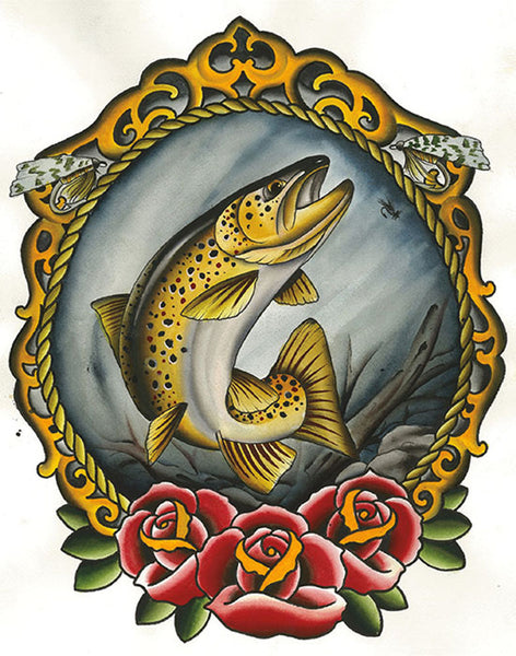 golden trout by mikey sarratt fish trophy tattoo artwork canvas fine art print ocean nautical unique-artwork roses alternative-artwork