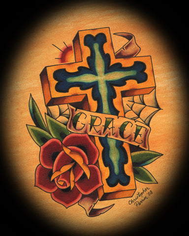 grace cross by christopher perrin old school tattoo canvas giclee fine art print roses painting picture inspirational old-school