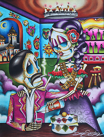 gracias mi amor by dave sanchez day of the dead skeleton lovers canvas art print dia-de-los-muertos  mexican  latino love  wall-art