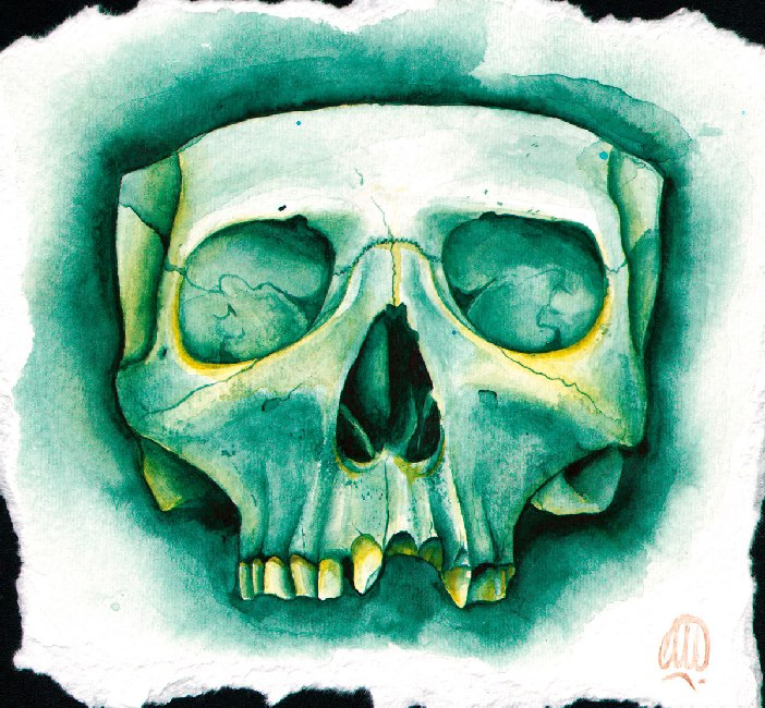 Green Skull by Christina Ramos Colorful Tattoo Design Canvas Art Print