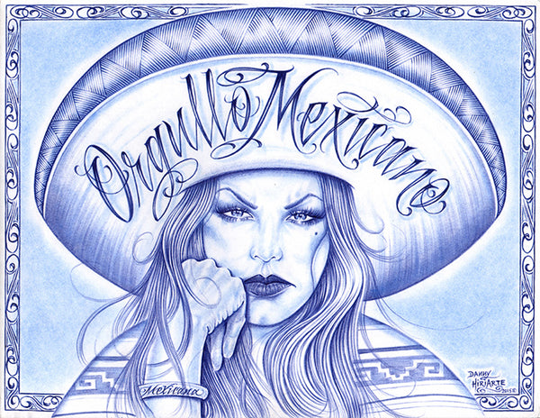 guerrera by danny hiriarte beautiful latino woman tattoo canvas fine art print tattoo-artwork traditional latina sketch alternative-artwork