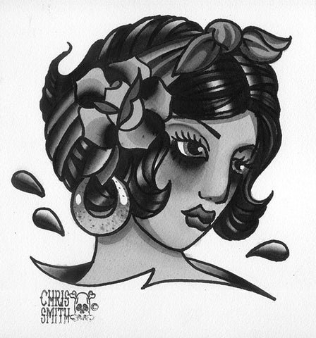 Gybo 1 by Chris Smith Gypsy Bohemian Tattoo Flash Canvas Art Print