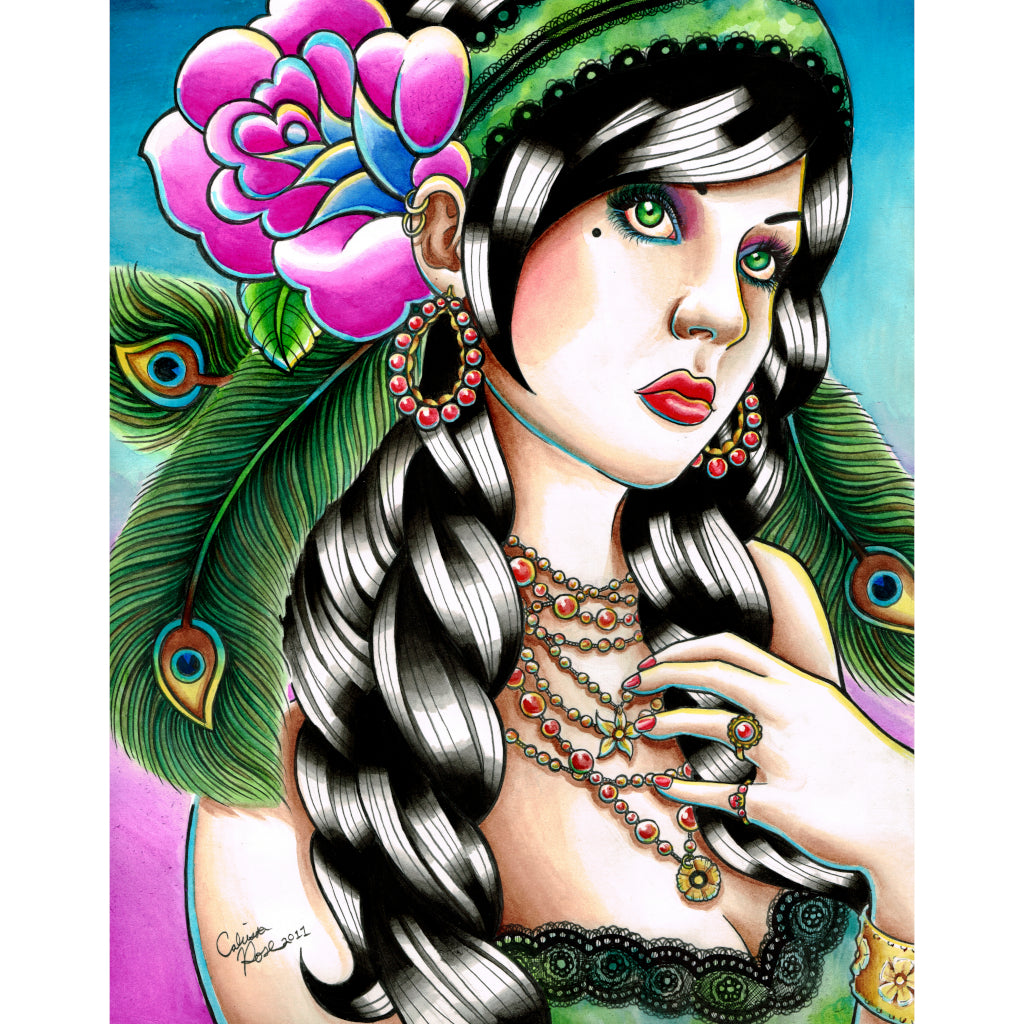 jewel tones sexy alternative artwork painting painting traditional tattoo flash designs color artwork artist black wood home
