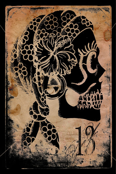 gypsy 13 by shayne of the dead bohner gothic sugar skull woman canvas giclee art print Mexican dia-de-los-muertos traditional wall-art wall-d?cor
