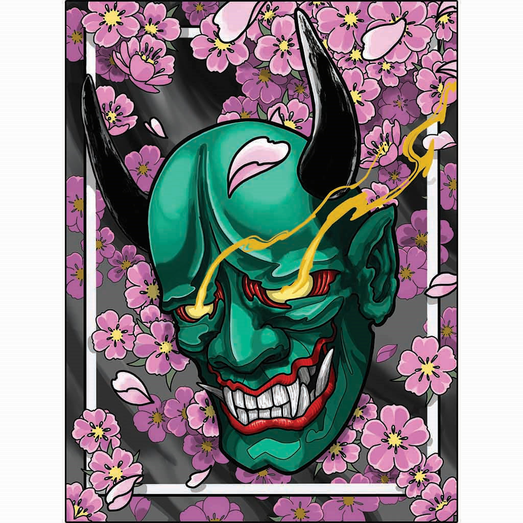 Neo Traditional Japanese Artwork Hannya and Cherry Blossoms