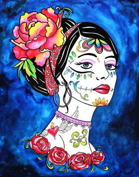 haunting beauty by melody smith tattooed woman floral tattoos canvas art print flowers portrait artwork portrait painting