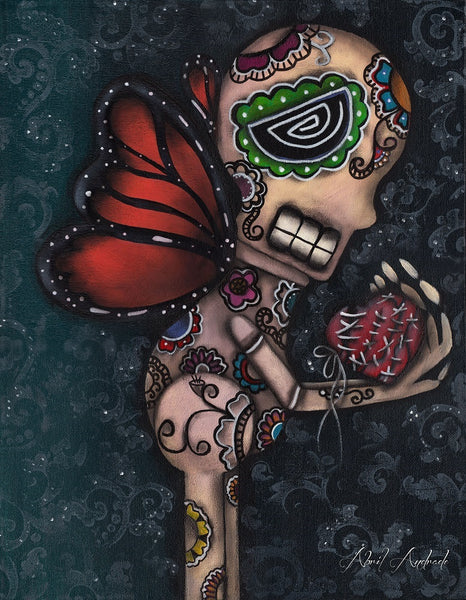 healing by abril andrade griffith sugar skull w broken heart canvas art print dia-de-los-muertos  monarch butterfly  day-of-the-dead artwork