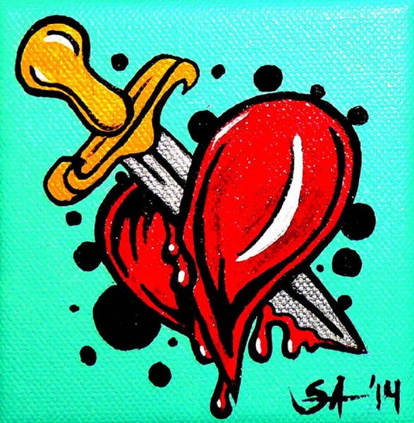 heartache by skinderella broken heart and dagger canvas giclee art print bloody-Heart  Heartbreak  tattoo-flash  knife  alternative-artwork