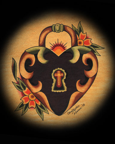 heartlock heart shaped lock by christopher perrin tattoo design art canvas print painting  keyhole cross traditional old-school