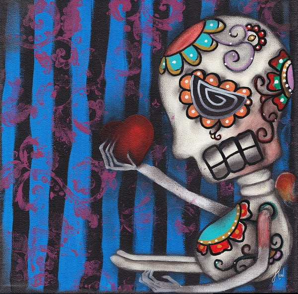 heart of mine abril andrade day of the dead lost love tattoo canvas art print skeleton  mexican -sugar-skull dia-de-los-muertos tattoo-artwork