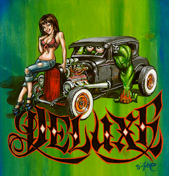 heidi deluxe by big toe kustom kulture sexy pin-up girl tattoo canvas art print classic-car  girlfriend  sex  monster  alternative-artwork