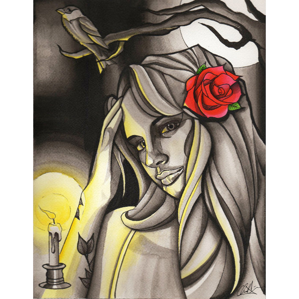 tattooed rose candle stick raven full moon gothic painting traditional tattoo flash designs color artwork artist black wood h