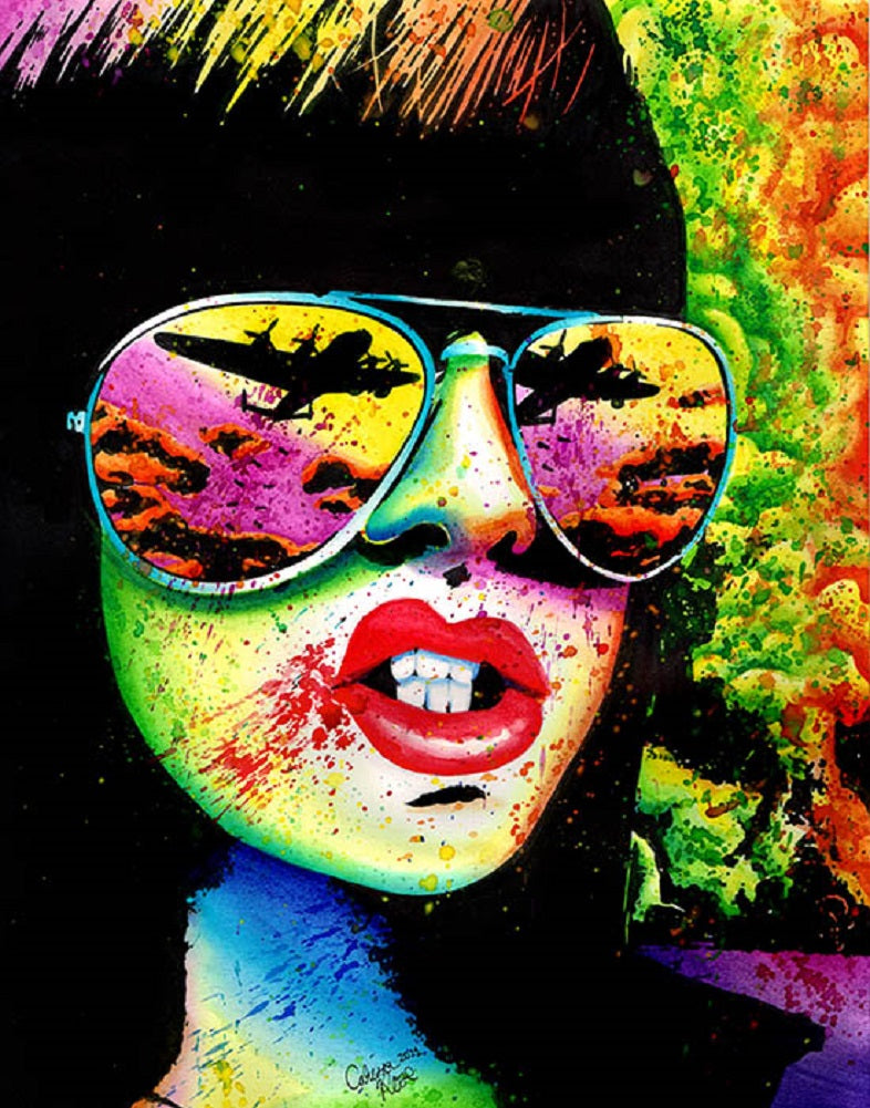 here come the bombs by carissa rose woman w/ aviator sunglasses framed art print punk  paint splatter  artwork smoking