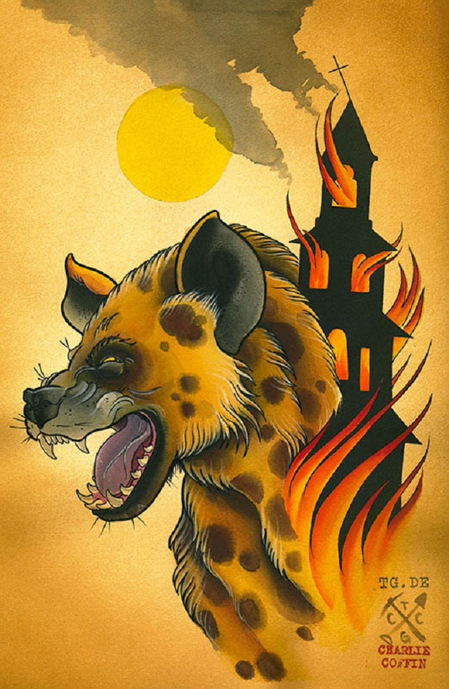 leopard burning church burning building haunted house halloween painting traditional tattoo flash designs color artwork artis