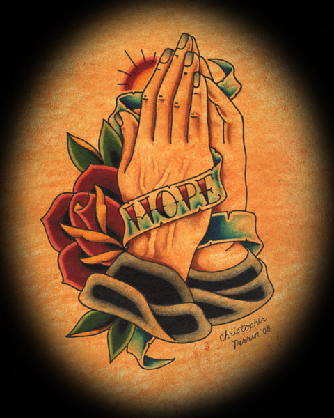 hope banner and praying hands by christopher perrin tattoo canvas fine art print religion  Christian  Pray  worship  painting