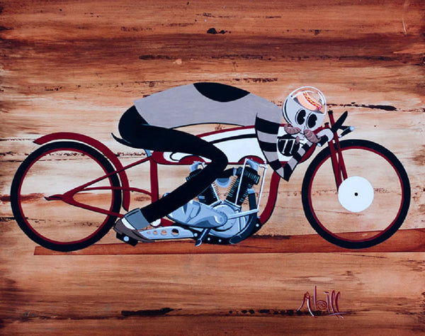 hot dogger by mcbiff vintage board track racer tattoo canvas giclee art print skeleton bike board-track-racer street-racing alternative-artwork