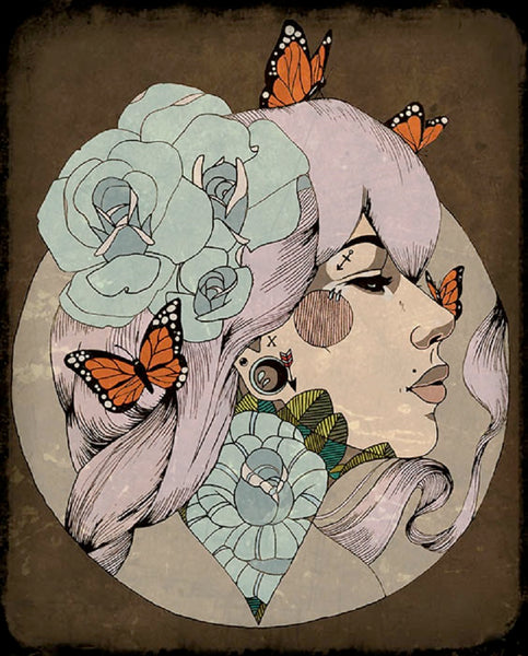 how i see it by amy dowell monarch butterfly tattooed portrait canvas art print butterflies vintage  steampunk artwork flowers