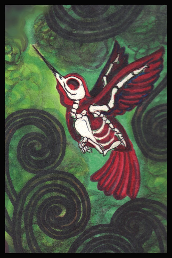 Hummingbird by Shayne of the Dead Day of the Dead Skeleton Art Print