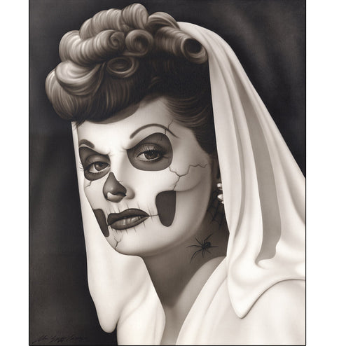 black white sugar skull tattoo face celebrity tv star retro portrait death mask beautiful picture painting mexican traditiona