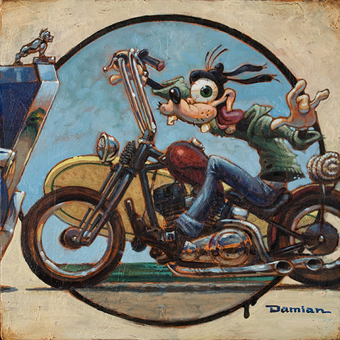 In A Second by Damian Fulton Goofy Motorcycle Lowbrow Canvas Art Print