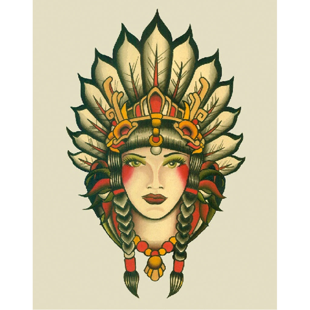 Indian Girl by Lil Chris Rolled Canvas Art Giclee Print