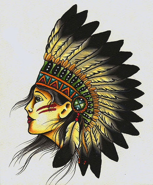 indian by mikey sarratt female chief native american headdress canvas art print tribal portrait headdress traditional-tattoo-designs alternative-artwork
