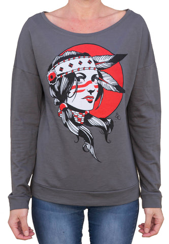 Women's Indian Girl by Brian Kelly Native American Gray Sweatshirt