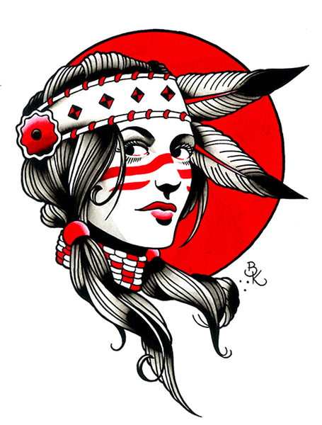 Indian Girl by Brian Kelly Native American Woman Beauty Tattoo Art Canvas Print tribal chief tattoo-flash headdress warrior