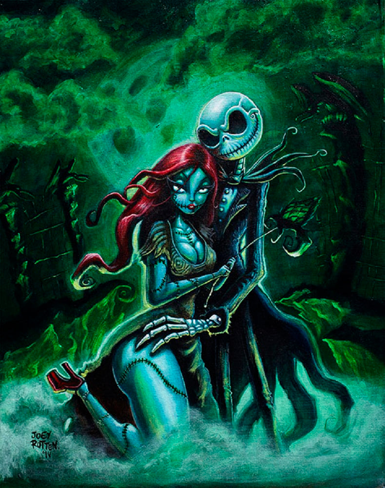 Jack and Sally by Joey Rotten Skeleton Love Unframed Canvas Art