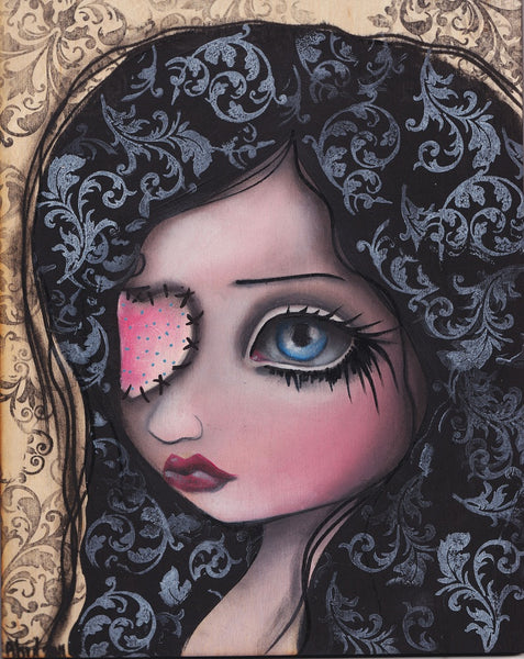 jaqueline by abril andrade griffith big eye girl heart eyepatch canvas art print eyepatch  Heart pirate emo painting
